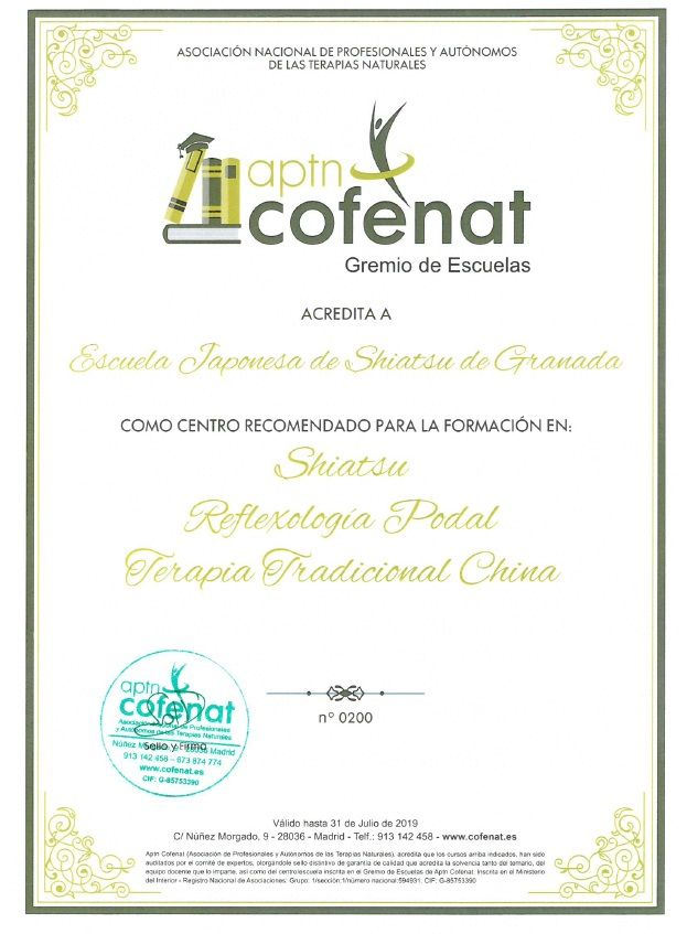 Acreditación Cofenat para formación en Shiatsu, Reflexología Podal y Terapia Tradicional China